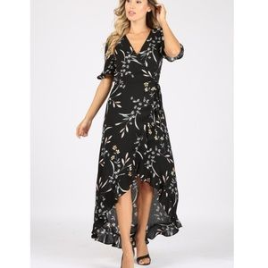 NEW Lulus Floral High Low Ruffled Maxi Dress Black Size M